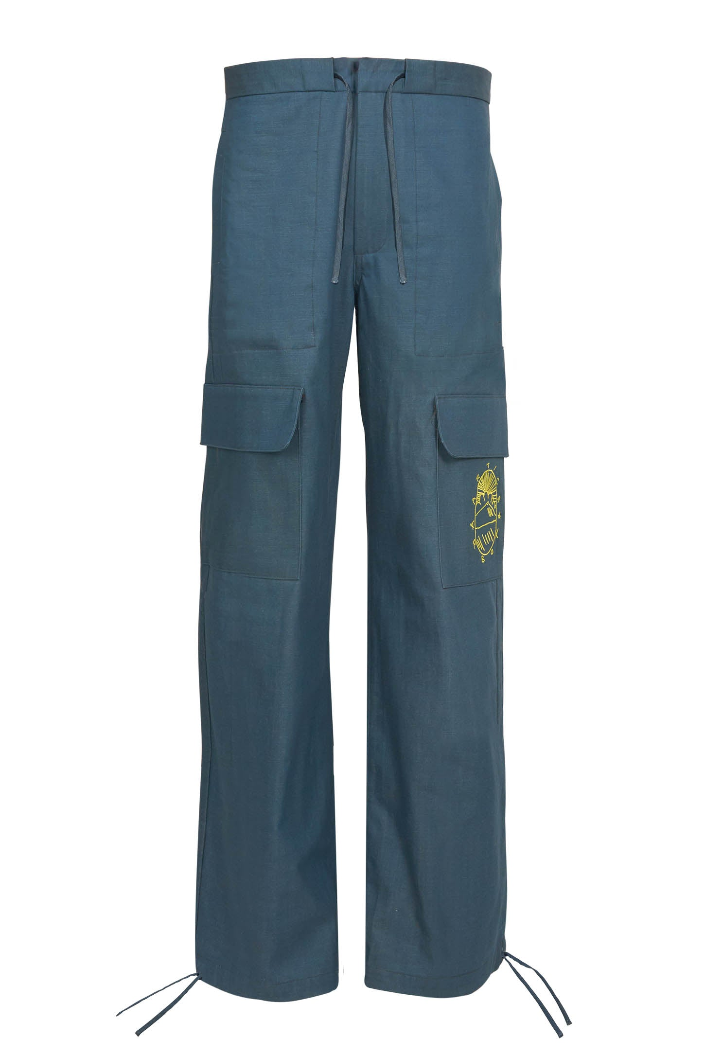 Cotton Twill Cargo Pants - BLUE