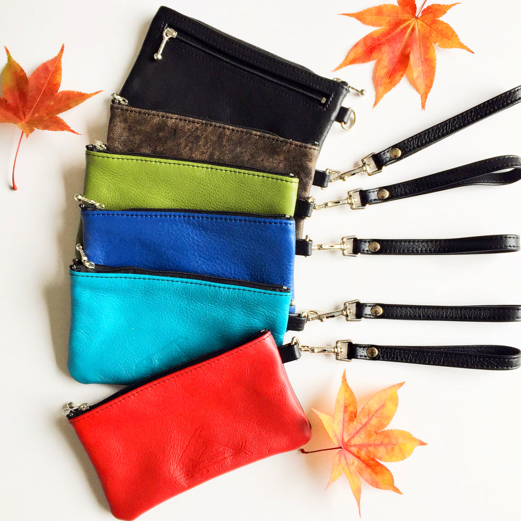 7 inch wrist let with detachable handle - Indian Summer's designer leather purses