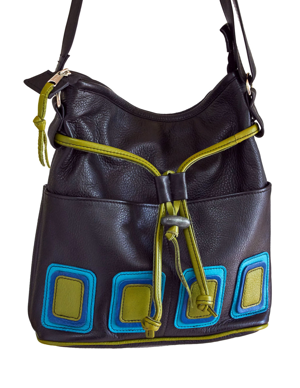 Op-Art Four-Pocket Purse - Indian Summer's designer leather purses