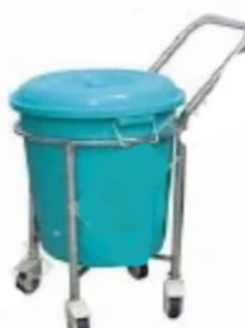 Soiled Linen Trolley - M.S With Plastic Bucket