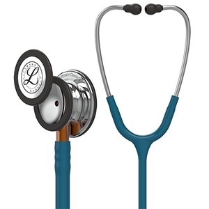 Littmann Classic III Monitoring Stethoscope, Mirror Chestpiece, Caribbean Blue Tube, Orange Stem and Stainless Headset, 27 inch, 5874