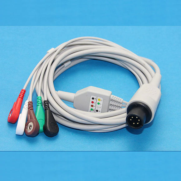 ECG Monitor Cable (Imported) invivo with 6 pin connector 5 Lead  - compatible with Criticare