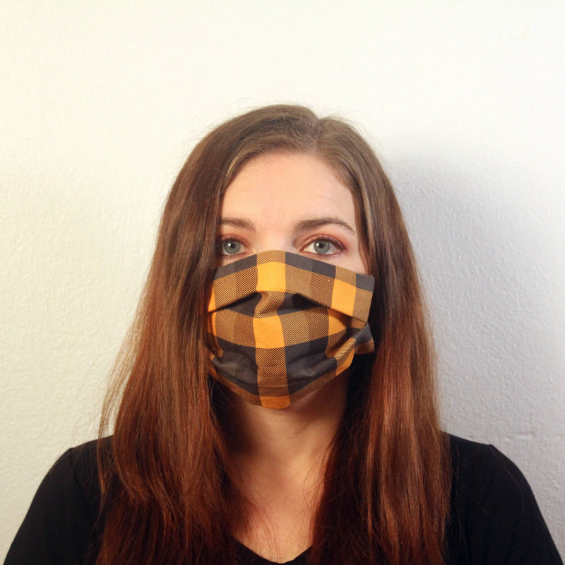 Orange Buffalo Check Mask