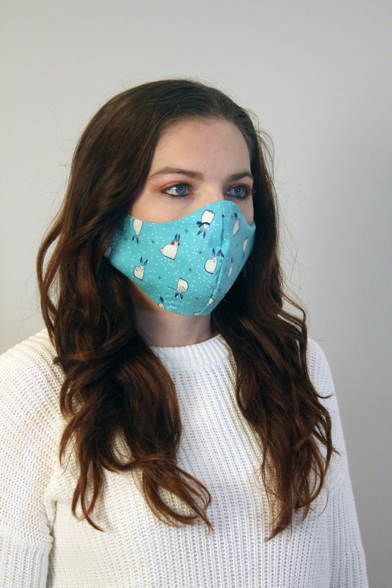 Sleepy Snowbunnies Fitted Face Mask