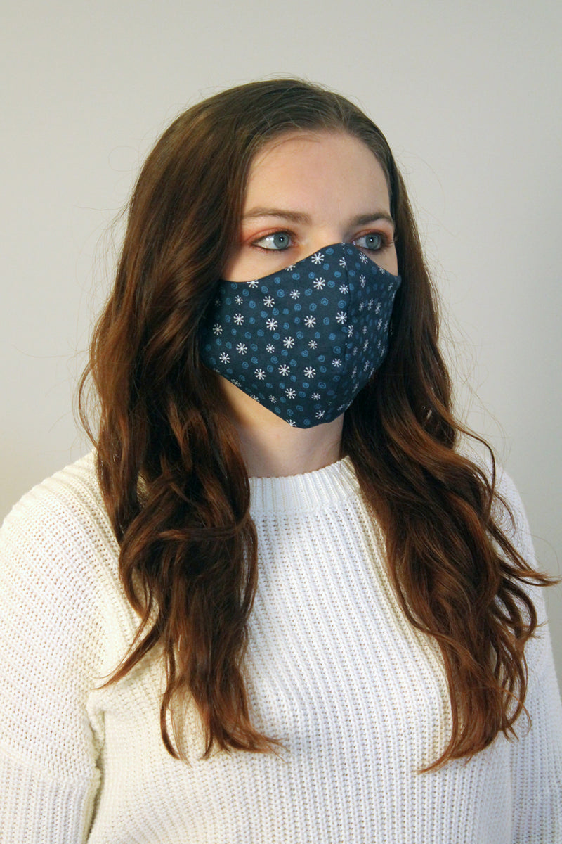 Snowflakes Fitted Face Mask