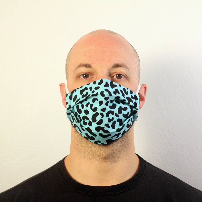 Turquoise Leopard Print Mask