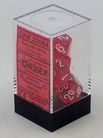 Translucent Red 7 Dice Polyhedral Set