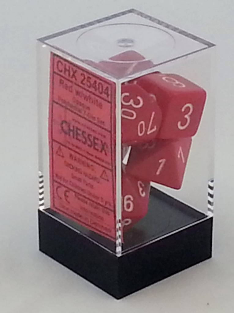 Opaque Red 7 Dice Polyhedral Set