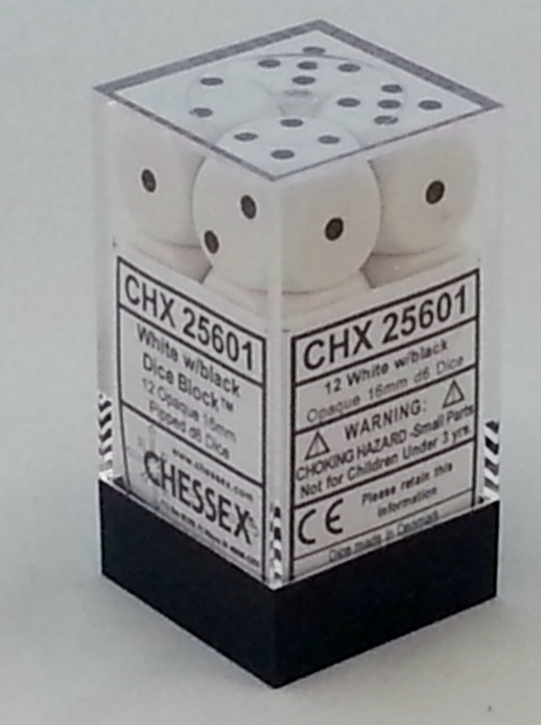 Opaque White 16mm d6 Dice Block (12 Dice)