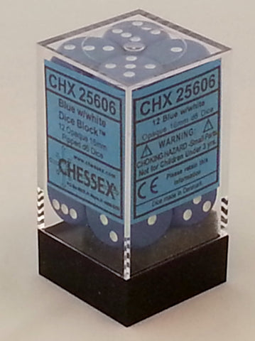Opaque Blue 16mm d6 Dice Block (12 Dice)