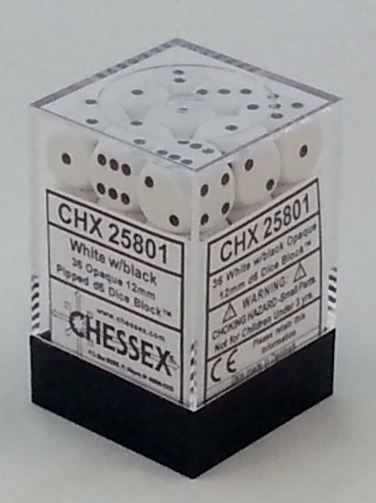Opaque White 12mm d6 Dice Block (36 Dice)