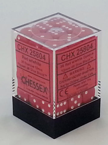 Opaque Red 12mm d6 Dice Block (36 Dice)