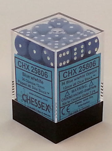 Opaque Blue 12mm d6 Dice Block (36 Dice)