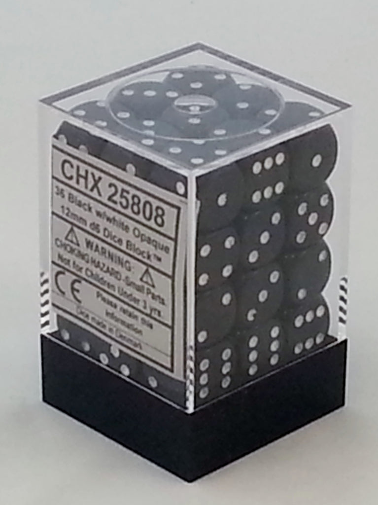 Opaque Black 12mm d6 Dice Block (36 Dice)