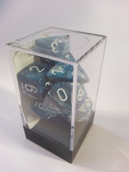 Lustrous Slate/white 7 Dice Polyhedral Set