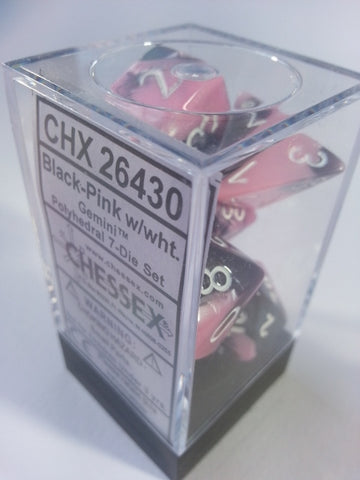 Gemini Black-Pink w/white  7 Dice Polyhedral Set