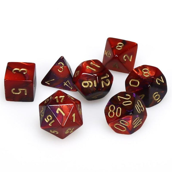 Gemini Purple-Red w/gold  7 Dice Polyhedral Set