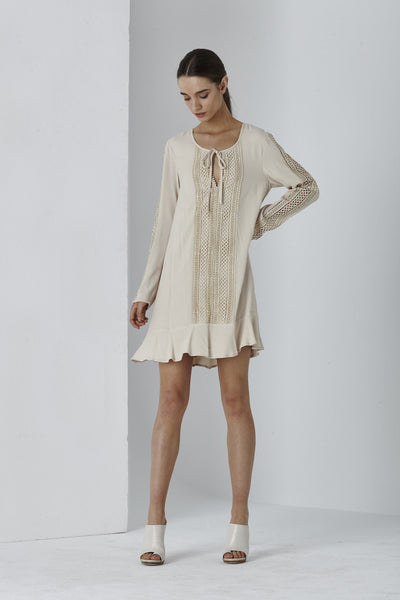 Shilla Divine Lace Trim Mini Dress | Beige