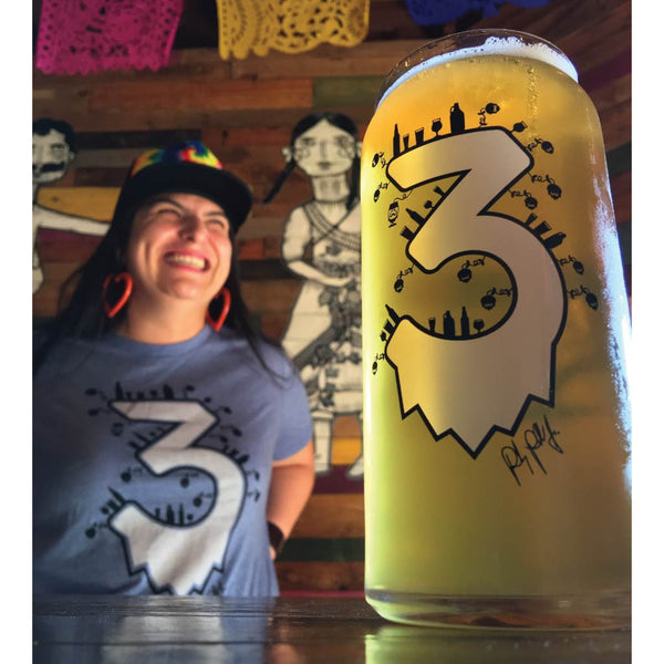 "LIMITED EDITION 3 YEAR ANNIVERSARY SET - ""TEE W/GLASS"" - Craft Beer T-Shirts, Beer Art and Beer Gifts 