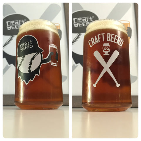 "CRAFT BEER GLASSWARE - ""BASEBALL BEERD CAN GLASS"" - Craft Beer T-Shirts, Beer Art and Beer Gifts 