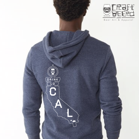 "CRAFT BEER HOODIE (UNISEX) - ""DRINK LOCAL CALIFORNIA"" 