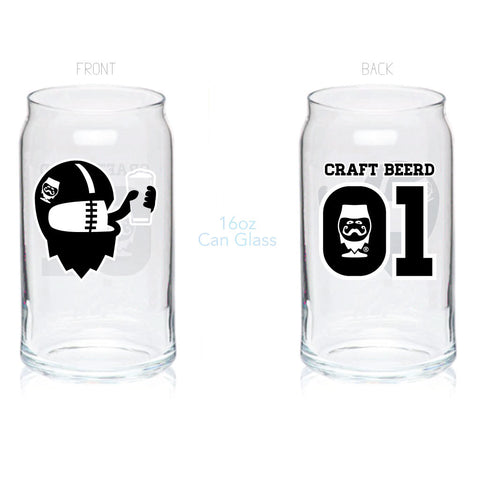 "GLASSWARE - ""FOOTBALL BEERD"" - Craft Beer T-Shirts, Beer Art and Beer Gifts 