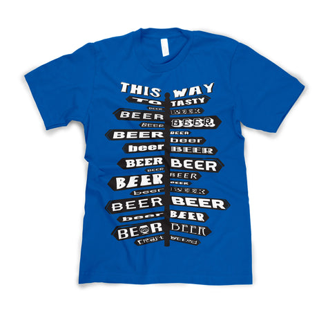"MENS - ""THIS WAY TO BEER"" 