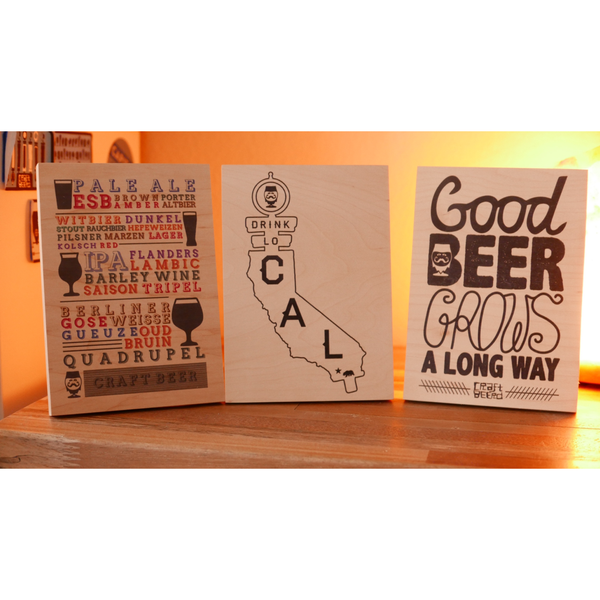 "WOOD - ""3-PACK GIFT SET"" - Craft Beer T-Shirts, Beer Art and Beer Gifts 