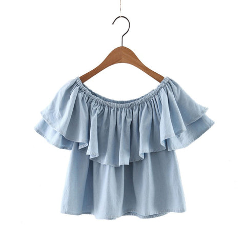 Ruffle My Feathers Denim Top