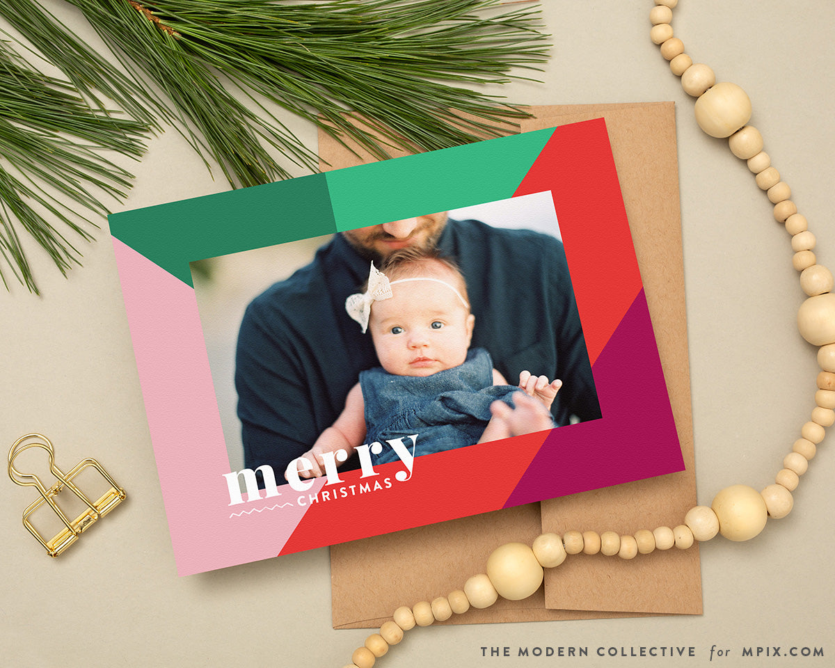 Colorful Waves Color Block Photo Christmas Card