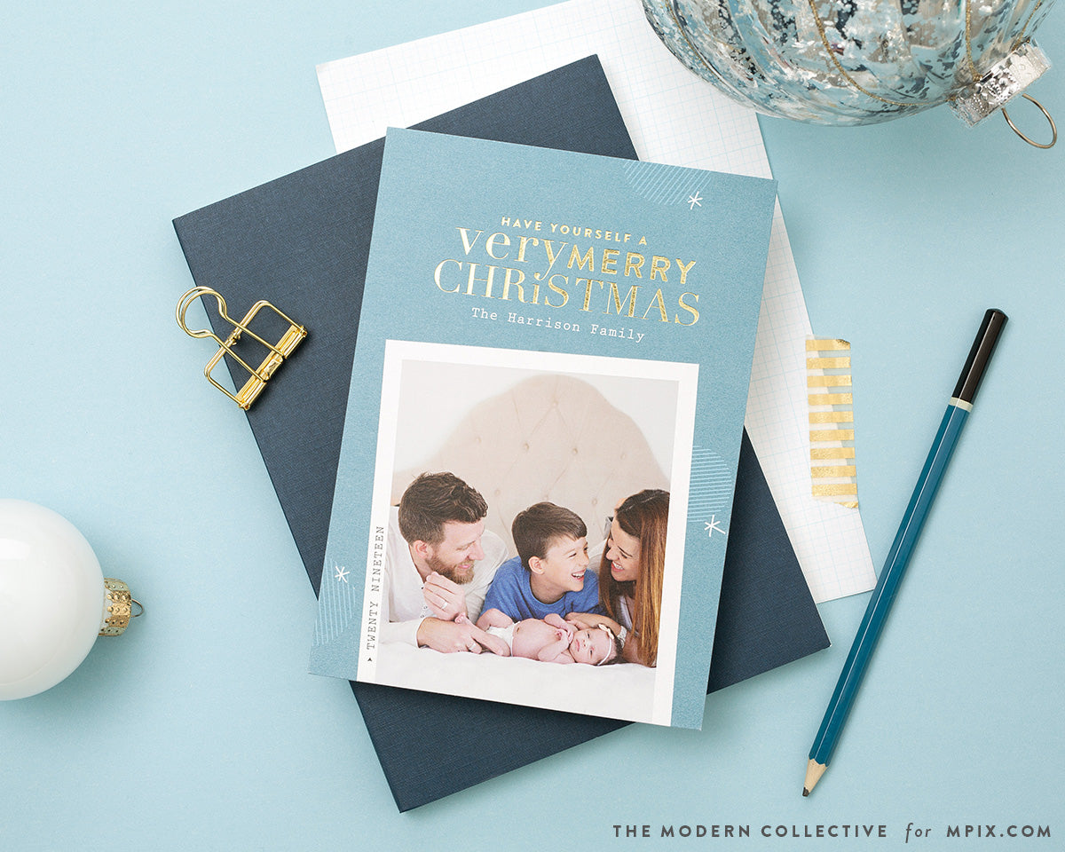 Gold Foil Polaroid Frame Christmas Photo Card