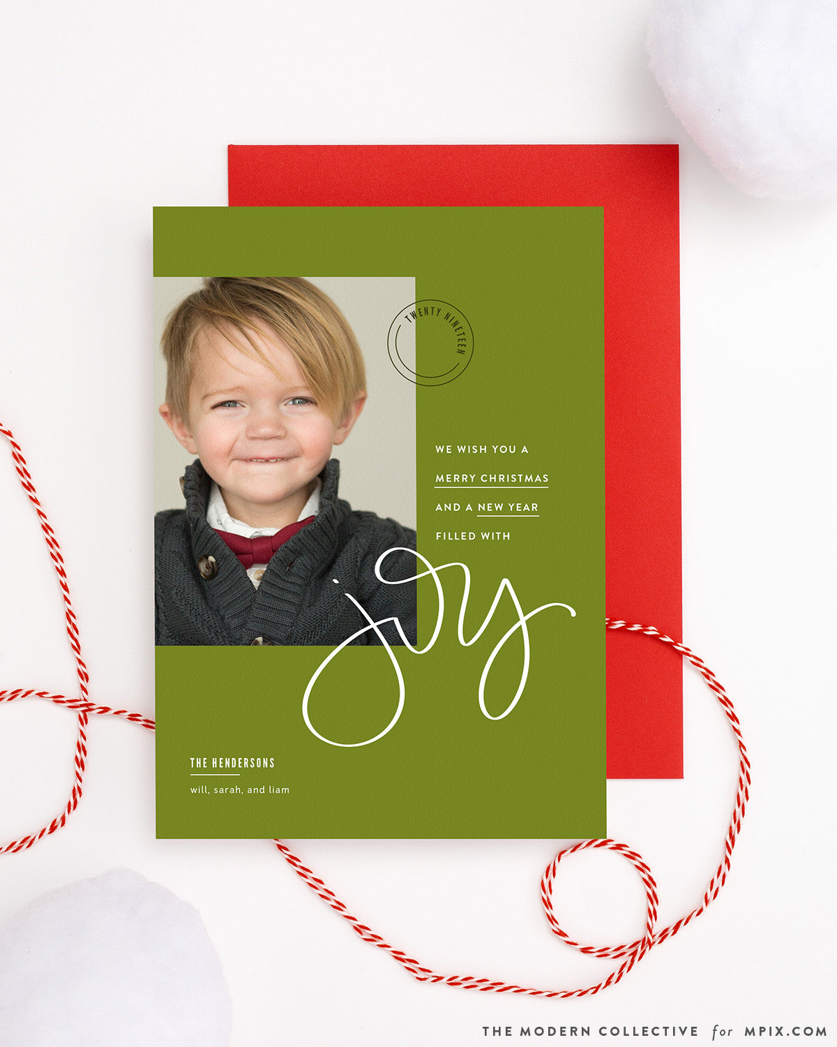Modern Green and Red Christmas Photo Card