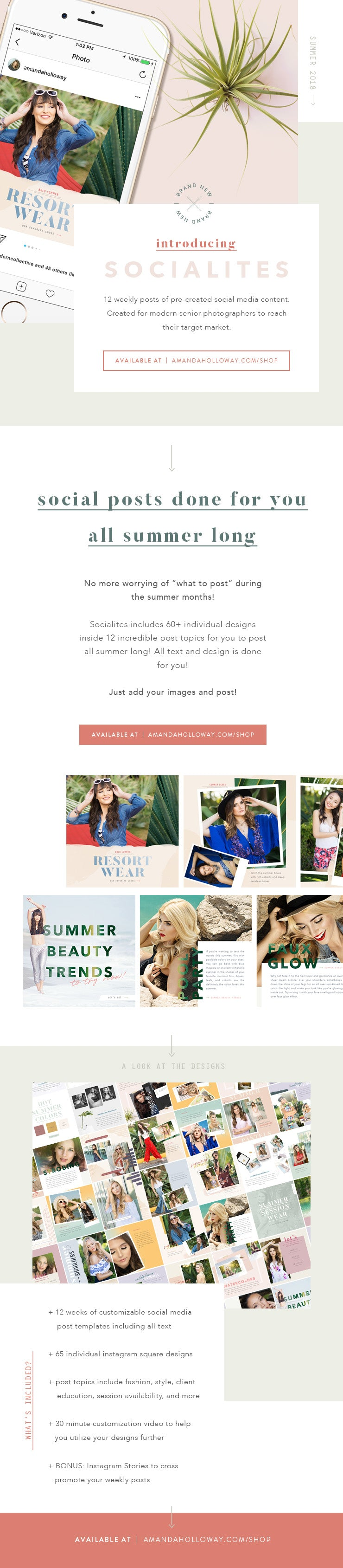 Senior Photographer Social Media Templates from Amanda Holloway and The Modern Collective Socialites Summer Style Posts