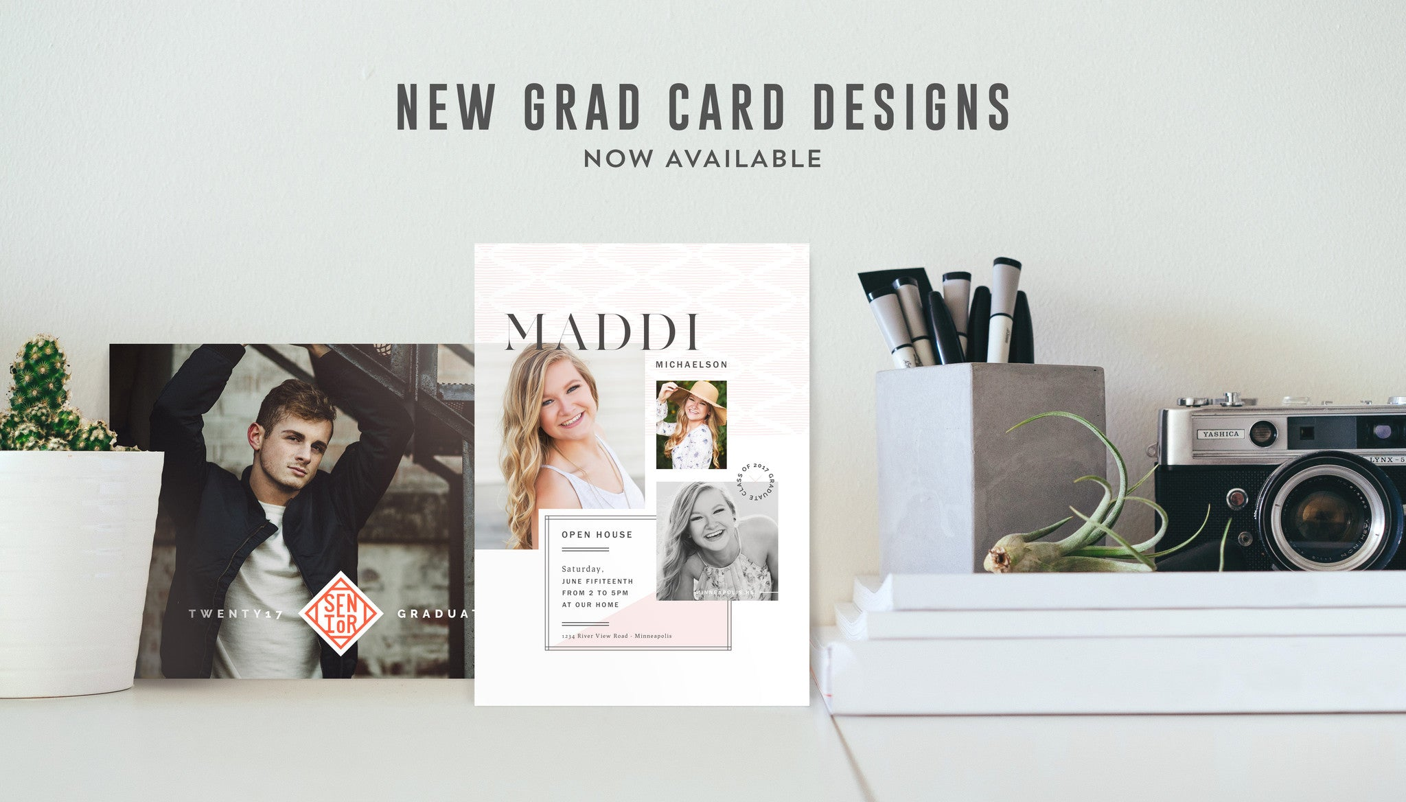 modern psd photoshop grad card templates and graduation announcements for photographers the modern collective