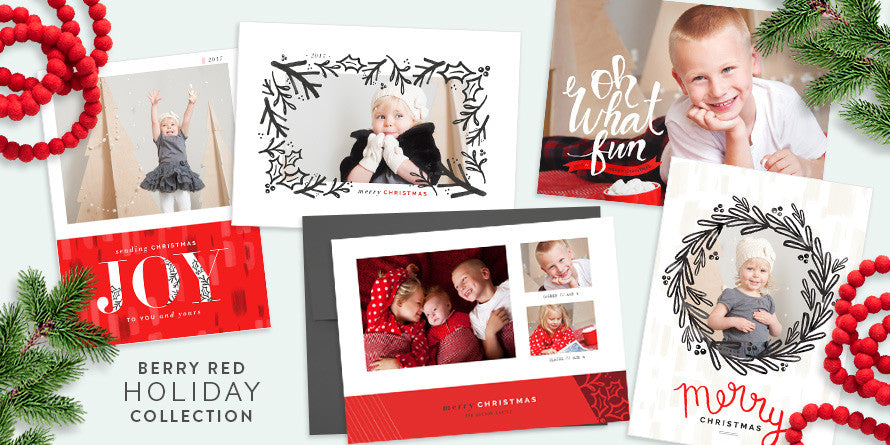 Berry Red Christmas Holiday Collection For Photographers PSD - Christmas card templates for photoshop