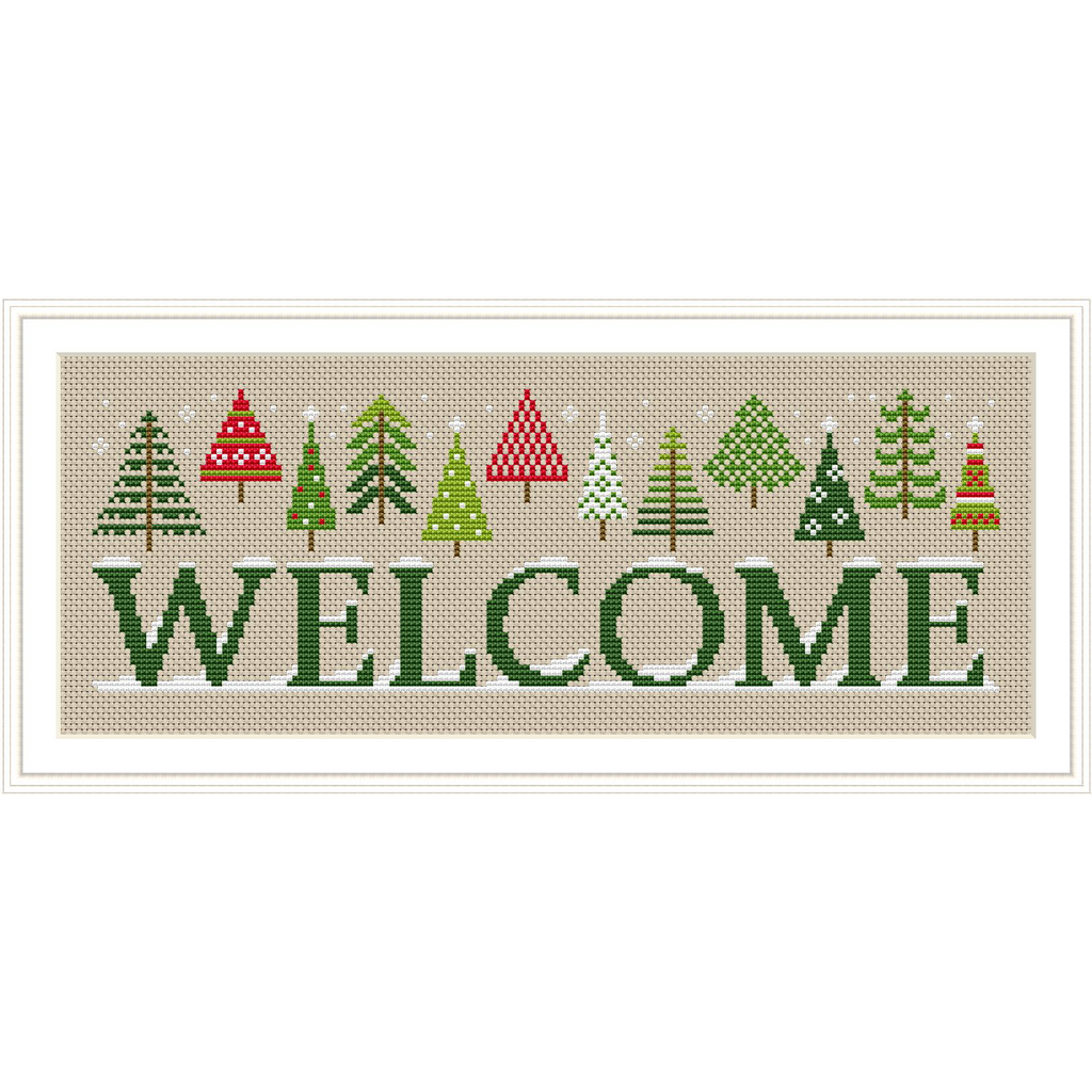Holiday Welcome Sign Cross Stitch PDF Instant Download