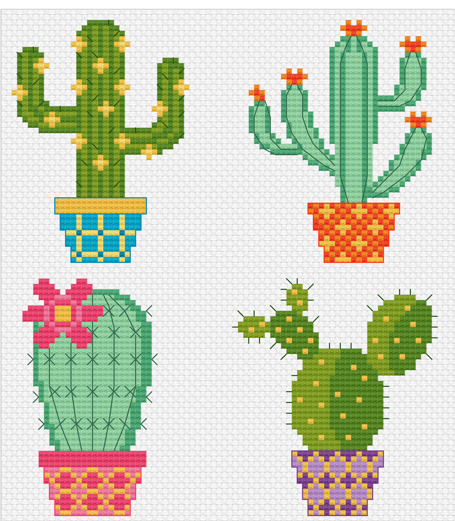 Modern Cross Stitch - Cactus Pots - Cross Stitch Pattern Instant Download