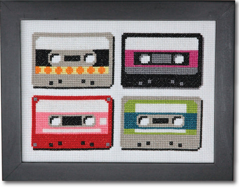 Retro Cassettes Cross Stitch Pattern Instant Download