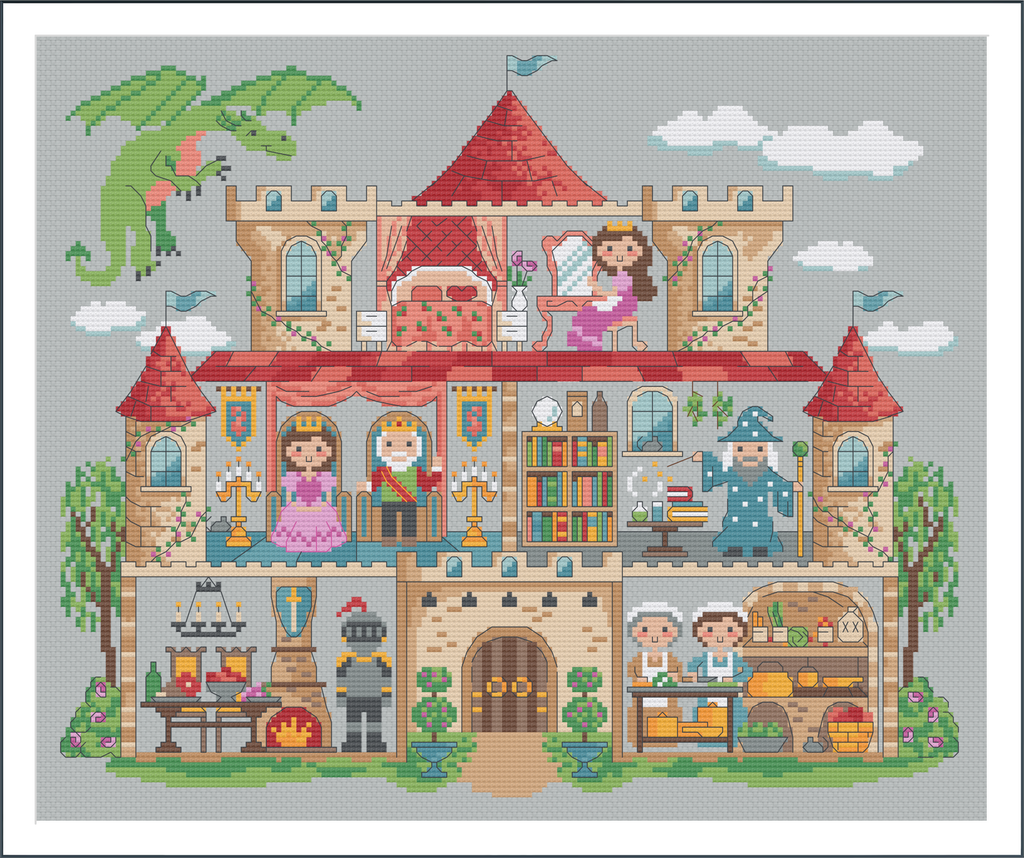 Mythical Medieval Mansion - Cross Stitch Pattern