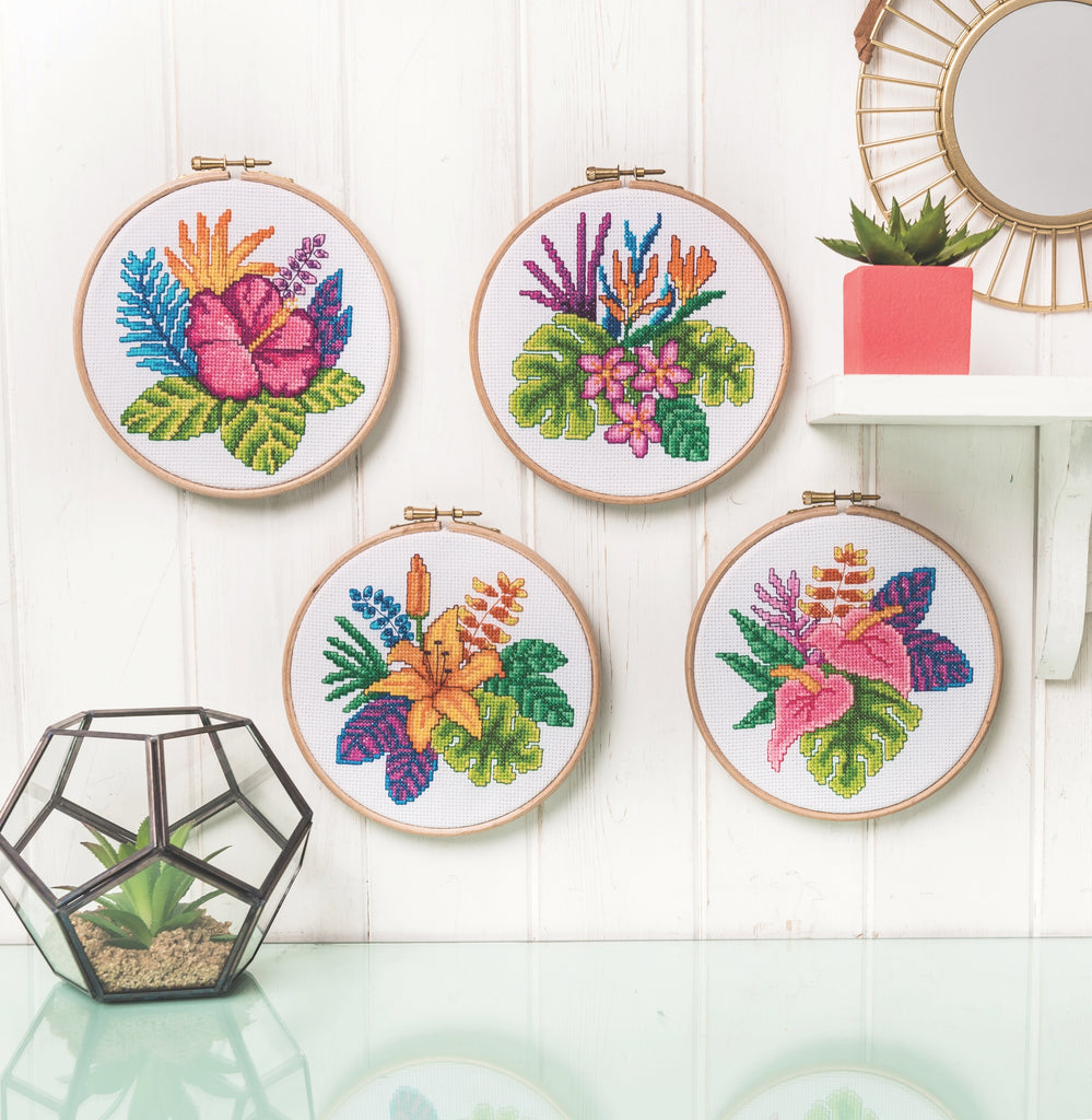 Modern Cross Stitch - Tropical Flowers Cross Stitch Pattern