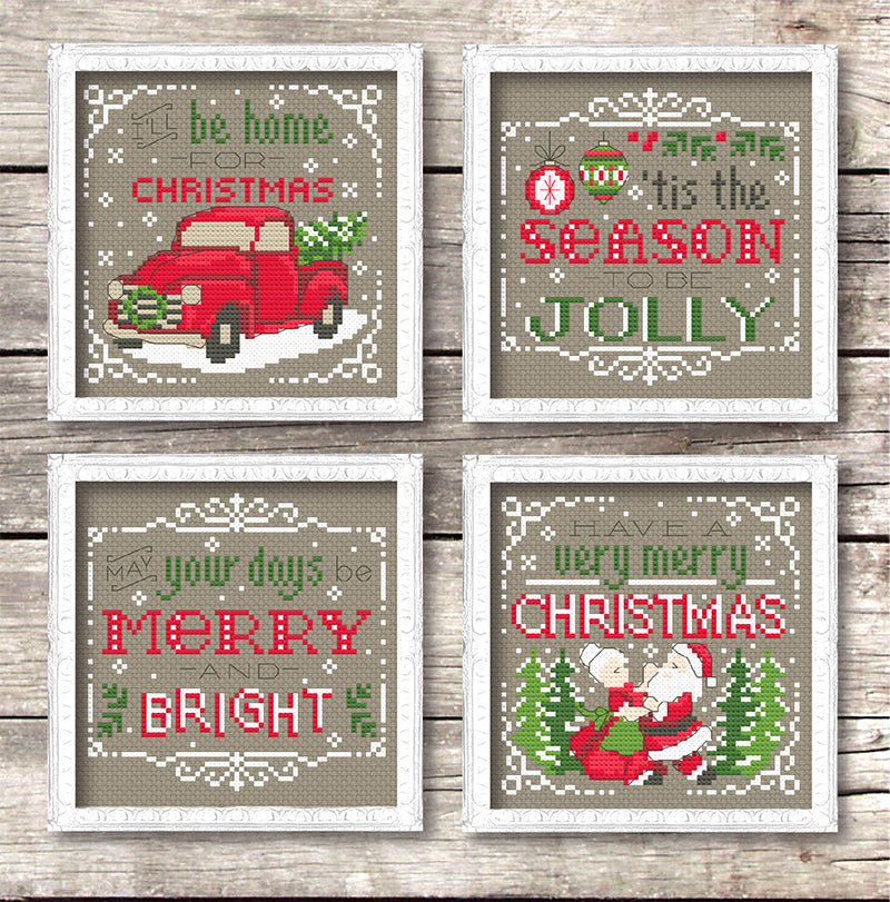 Christmas Signs.Vintage Christmas Signs Cross Stitch Pattern