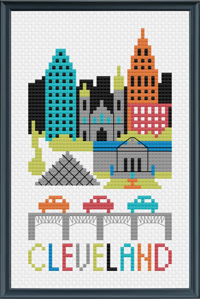 NEW! Cleveland City Cross Stitch Chart Instant Download