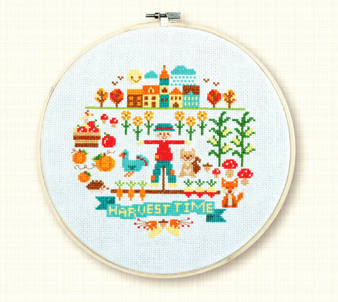 Harvest Time Fall Cross Stitch Pattern Instant Download