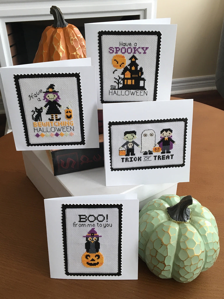 Halloween Greetings Cross Stitch Cards - Instant Download