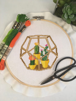 Cute Cactus Terrarium Cross Stitch Pattern Instant Download