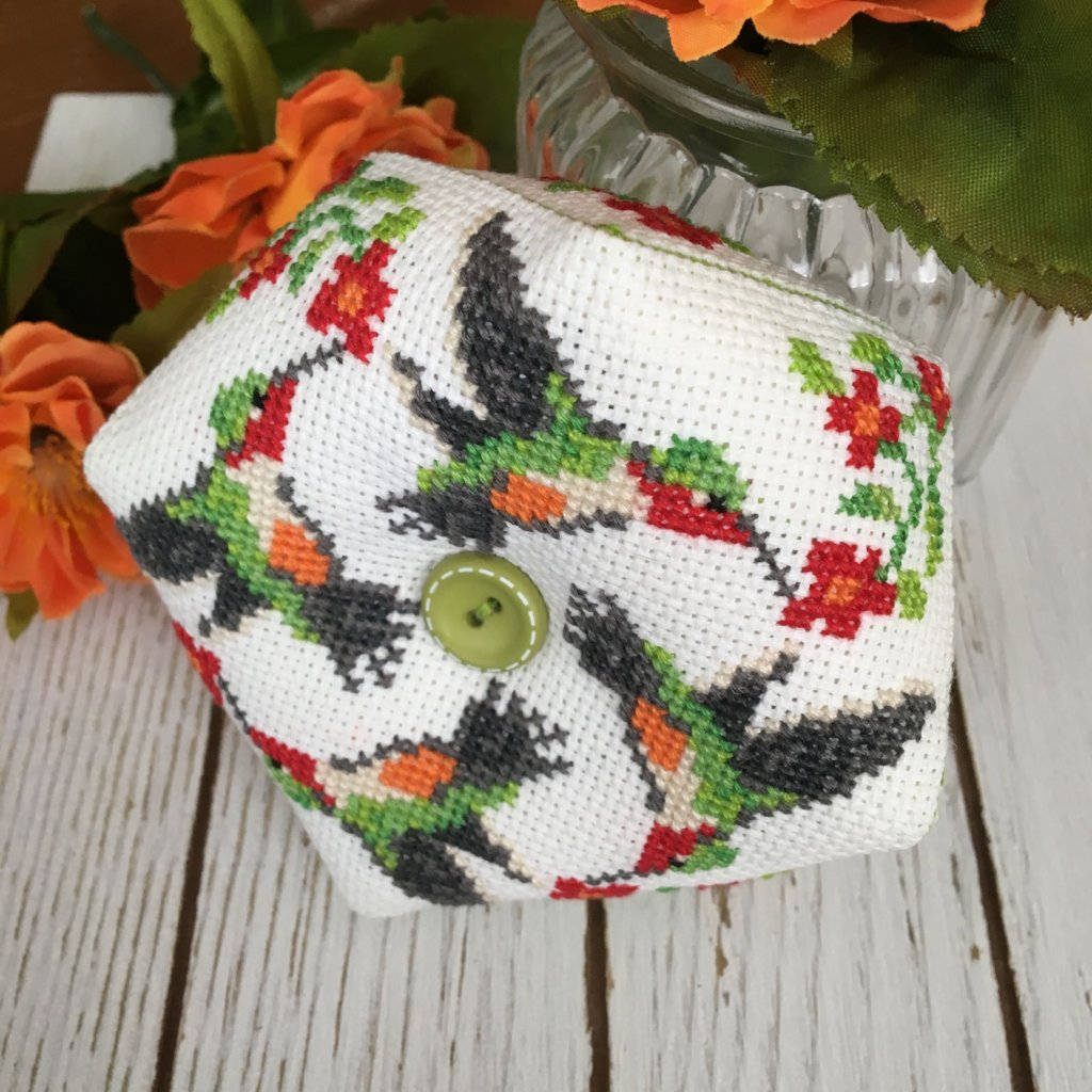 April Hummingbird Biscornu - Modern Cross Stitch Pattern