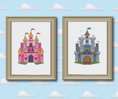 Princess Castle & Medieval Castle Cross Stitch Pattern Instant Download