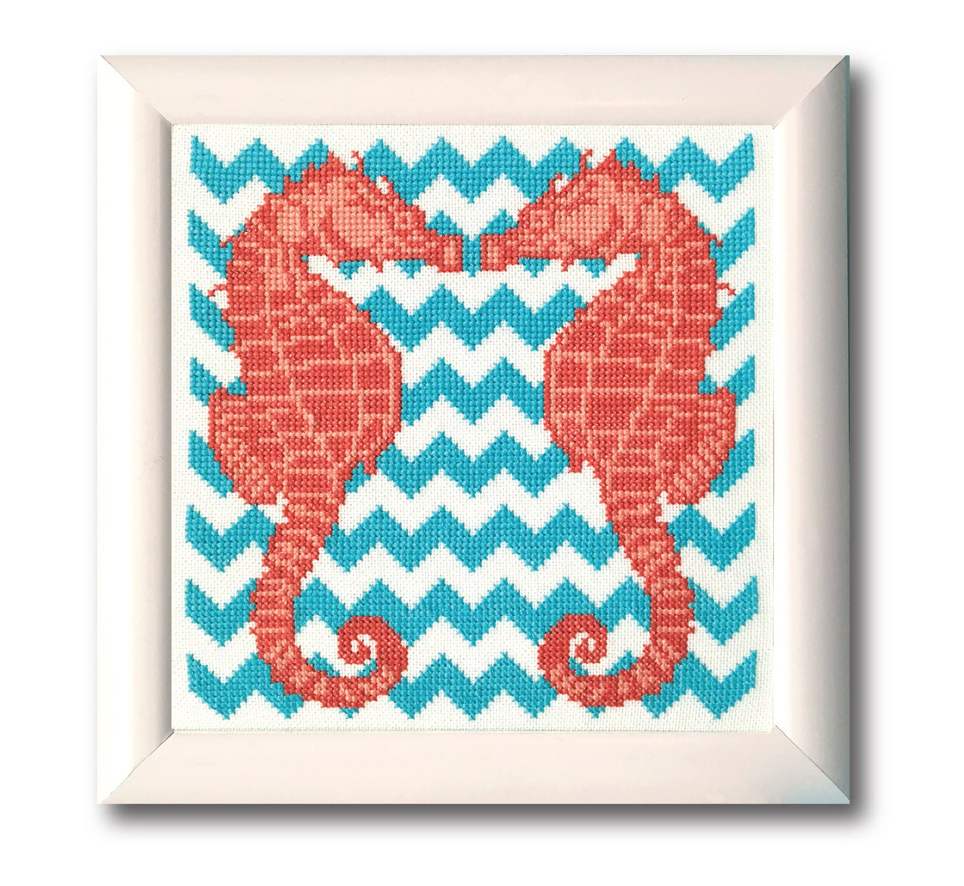 Chevron Seahorses Cross Stitch Pattern Instant Download Tiny Modernist Cross Stitch