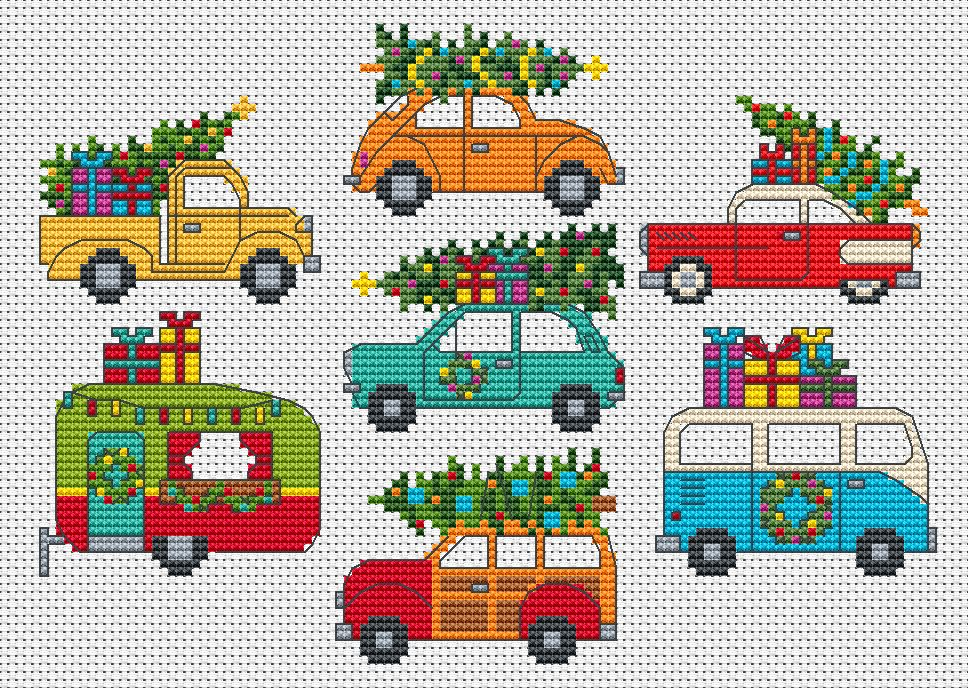 Holiday Retro Cars & Vans Cross Stitch PDF Instant Download