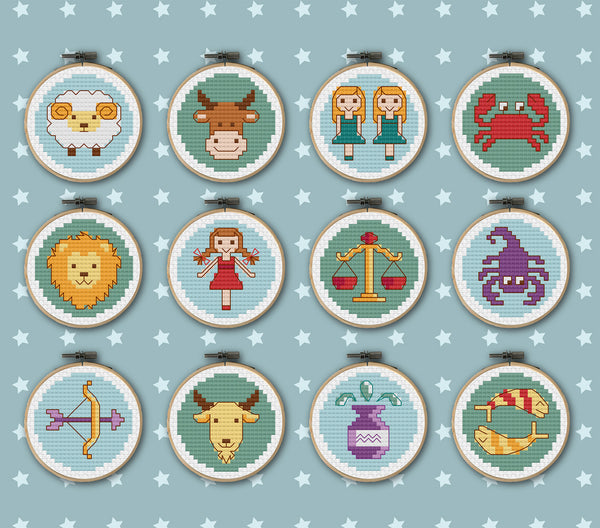 Cute Zodiac Cross Stitch Pattern Instant Download